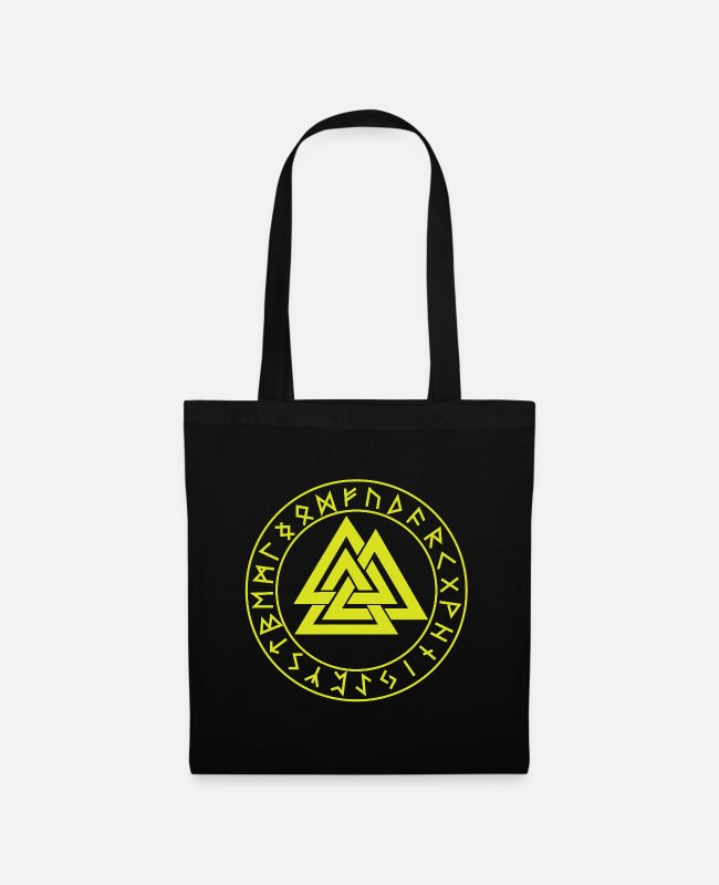 Hammer Bags & Backpacks - Wotansknoten Valknut In the rune circle Futhark - Tote Bag black