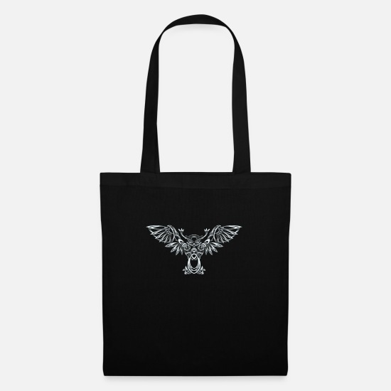 Silver Bags & Backpacks - owl in silver - Tote Bag black