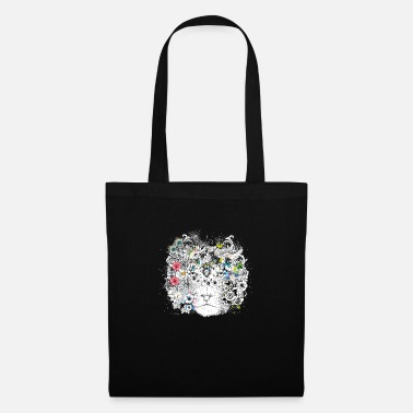 Catcher extraordinarily decorated lion mane with flowers - Tote Bag
