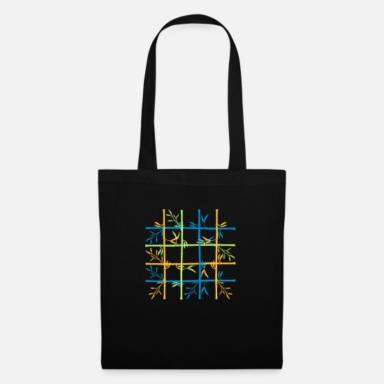 Grass Bags & Backpacks - lattice pattern long bamboo plant silhouette a lot - Tote Bag black