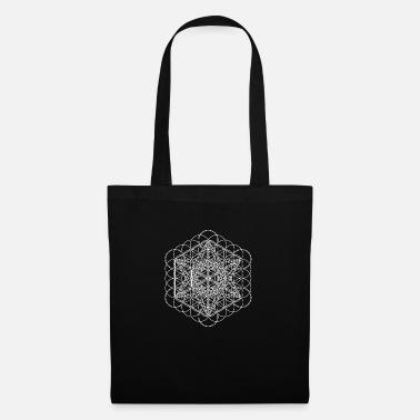 Geometría Sagrada Metatrons Cube Outline y Flower of Life White - Bolsa de tela