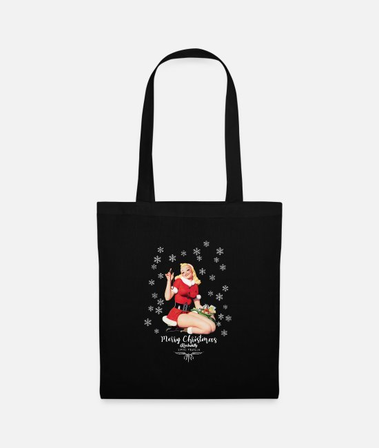 Christmas Bags & Backpacks - Vintage Christmas 1950s pinup - Tote Bag black