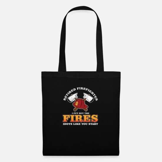 Retired Bags & Backpacks - Fireman Retirement Veterans Retired Firefighter - Tote Bag black
