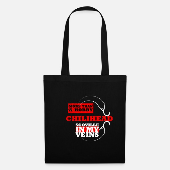 Chili Bags & Backpacks - chilihead scoville in my veins - Tote Bag black
