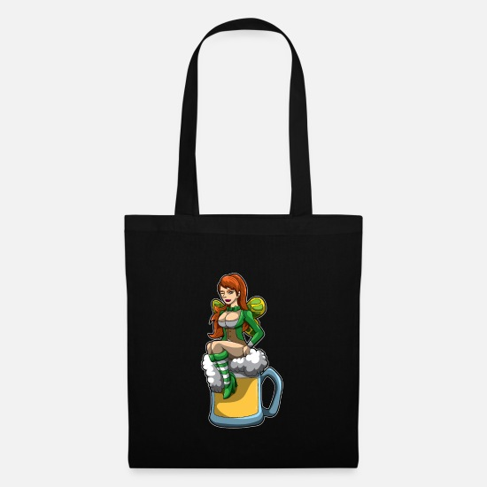 Religious Bags & Backpacks - Irish Fairy Sits In A Beer Mug And Brings Luck - Tote Bag black