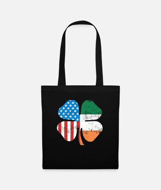 Ireland Bags & Backpacks - Four Leaf Clover Ireland USA Flag St Patrick's - Tote Bag black