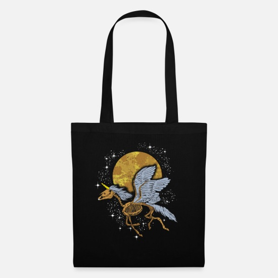 Gift Idea Bags & Backpacks - Unicorn Pegasus Skeleton flying among Stars - Tote Bag black