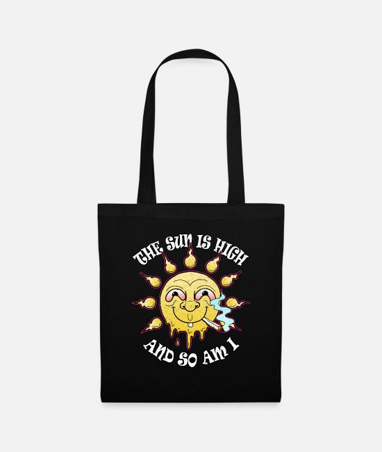 Cannabis Bags & Backpacks - Sun high stoned joint stoner grass smoking weed - Tote Bag black
