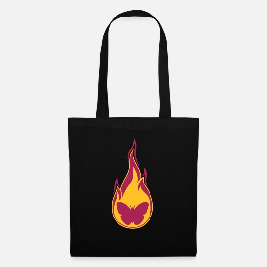 Blaze Bags & Backpacks - butterfly flame burning fire hot silhouett - Tote Bag black
