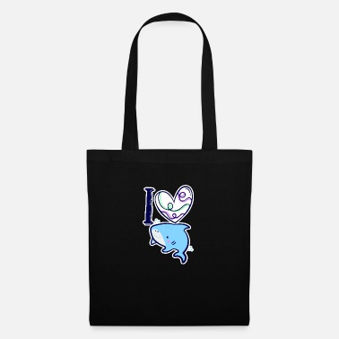 Shape Shark Funny I love little sharks heart children comic - Tote Bag