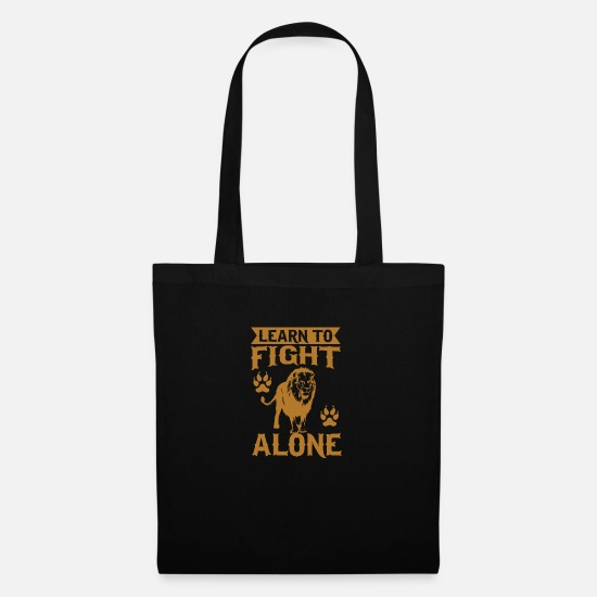 Bobcat Bags & Backpacks - Learn to fight alone - Tote Bag black