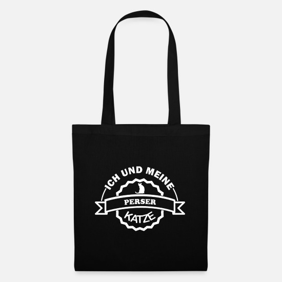 Kitty Cat Bags & Backpacks - Persian cat | Me and my Persian cat | saying - Tote Bag black