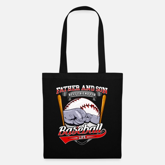 Batting Helmet Bags & Backpacks - Father and son baseball - Tote Bag black