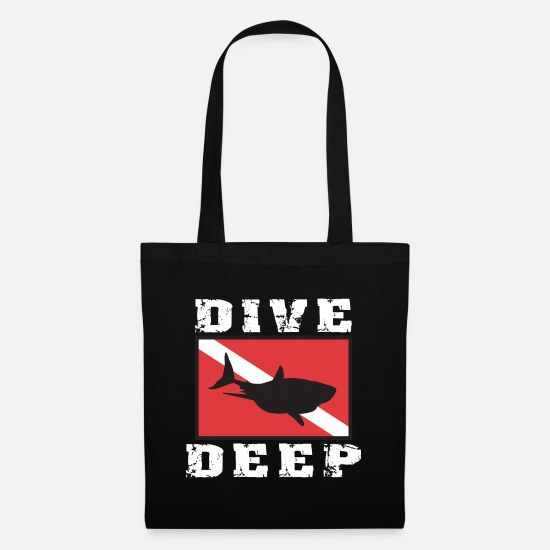 Shark Bags & Backpacks - SCUBA DIVE DEEP SHARK - Tote Bag black
