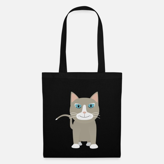 Kawaii Bags & Backpacks - Gray cat - Tote Bag black