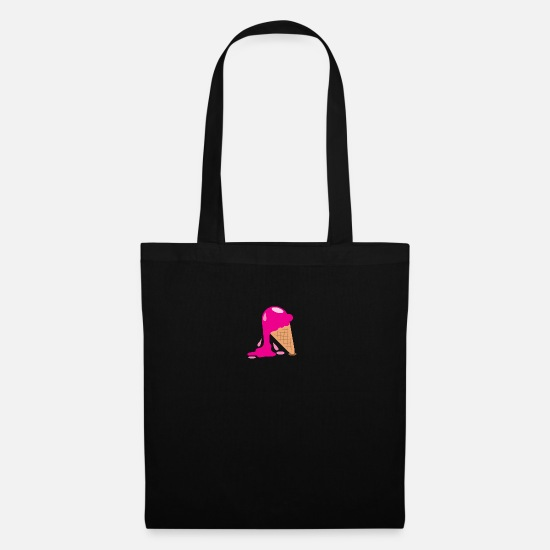 Lovely Bags & Backpacks - melty melting ice cream in a cone - Tote Bag black
