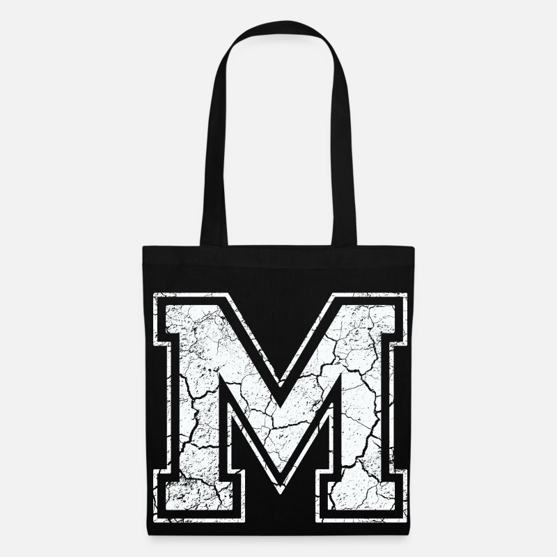Letter Bags & Backpacks - Letter of m in white in Used Look - Tote Bag black