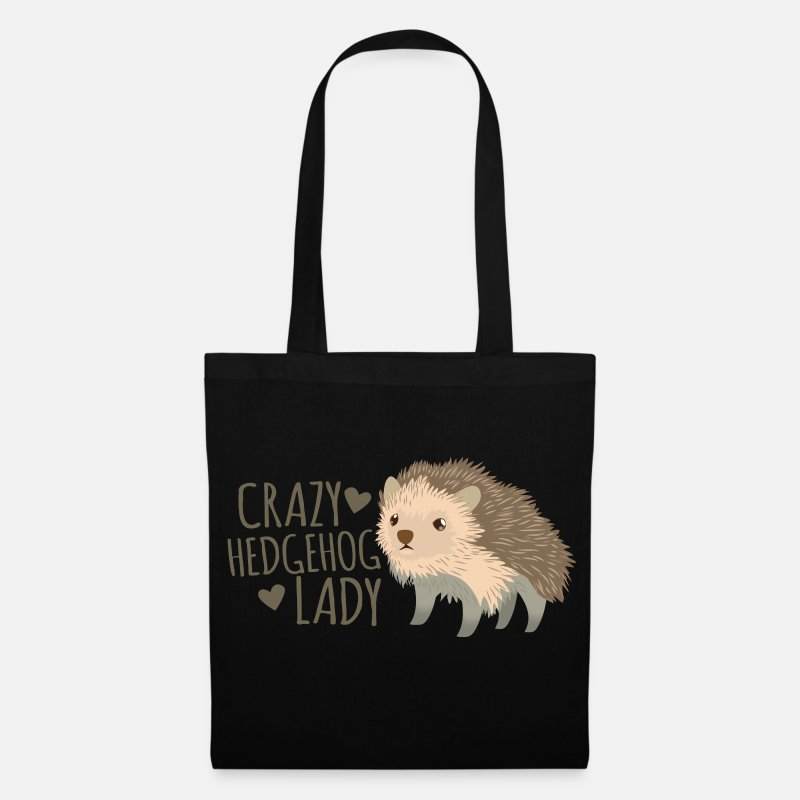 Hedgehog Bags & Backpacks - crazy hedgehog lady - Tote Bag black