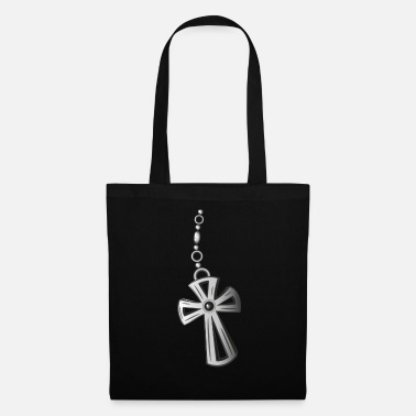 Silver Christian. Cross, Crucifix jewelry in silver  - Tote Bag