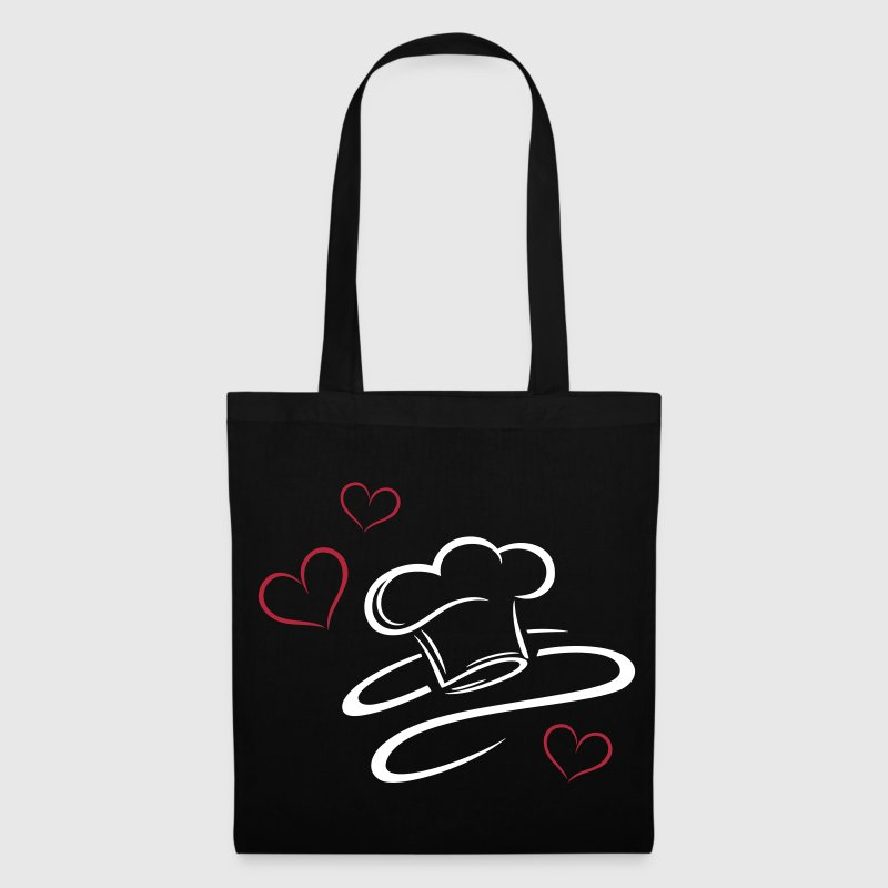 Cook, logo, chef hat with three hearts. - Tote Bag