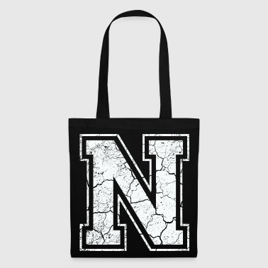Letter N in white in the used look - Tote Bag