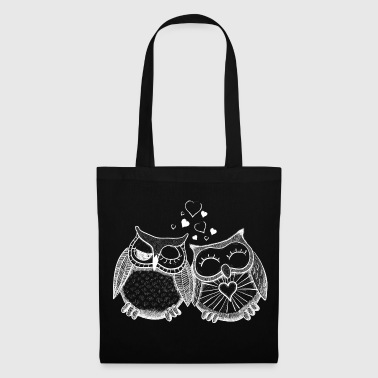 owls in love  hiboux amoureux  - Tote Bag