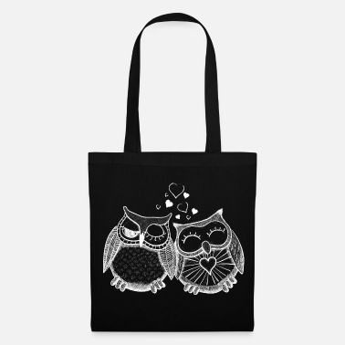Hibou owls in love  hiboux amoureux  - Tote Bag