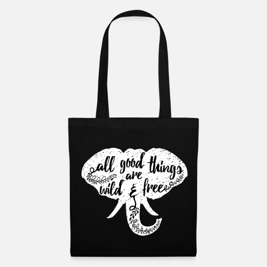 Black And White Collection Bags & Backpacks - Animal Planet Elephant Typography Quote - Tote Bag black