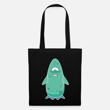 Little Brother Monster turquoise white - Tote Bag