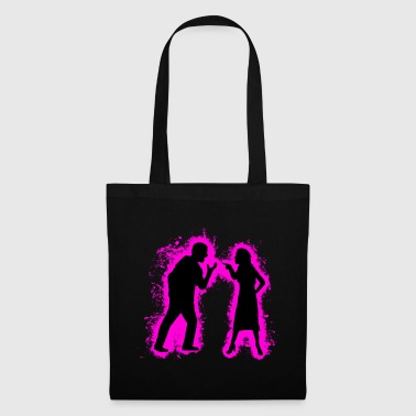 Silhouette pair of pink and black outline - Tote Bag