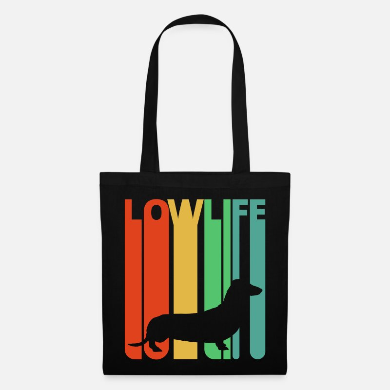 Dog Bags & Backpacks - Vintage Retro Lowlife Dachshund.Sausage Dog Lover - Tote Bag black