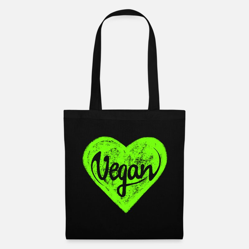 Vegan Bags & Backpacks - Vegan - a heart for animals, protection, nature,   - Tote Bag black