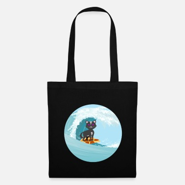 Pussycat Cat Cute Funny Cat Wave Surfing Pizza Food - Tote Bag
