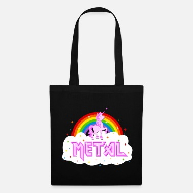 Heavy Metal metal music heavy unicorn rainbow funny - Tote Bag