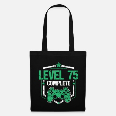 Unlocked Gamer Shirt Level 75 Complete Gaming Birthday Gift Tee - Tote Bag