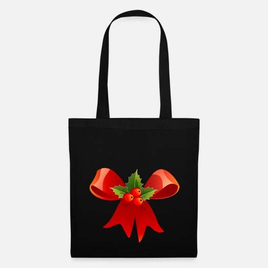 Red Bags & Backpacks - Christmas laurel bow - Tote Bag black