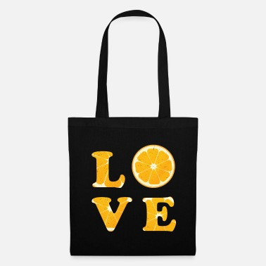 B Dag Love Orange Fruit Typography Vegetable Gift Idea - Tas van stof