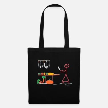 Stick Figure Vegetarian stick figure, woman vegan hobby cook - Tote Bag