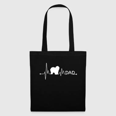 Quote Heartbeat Pulse Line English Sheepdog Dad Dog Gift - Tote Bag