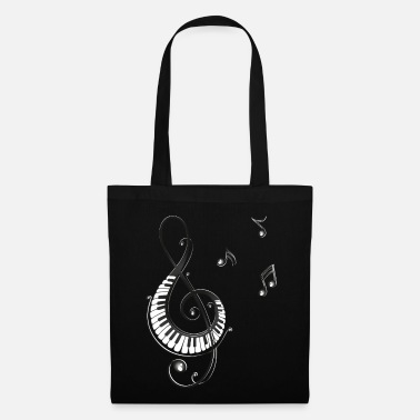 Music Clef with piano and music notes, i love music. - Tote Bag
