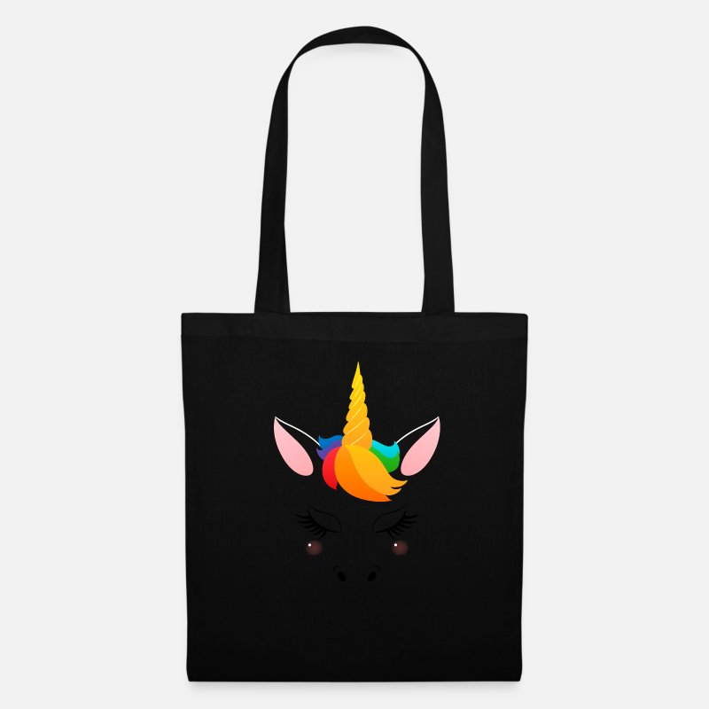 Birthday Bags & Backpacks - Cute Unicorn Face - Tote Bag black