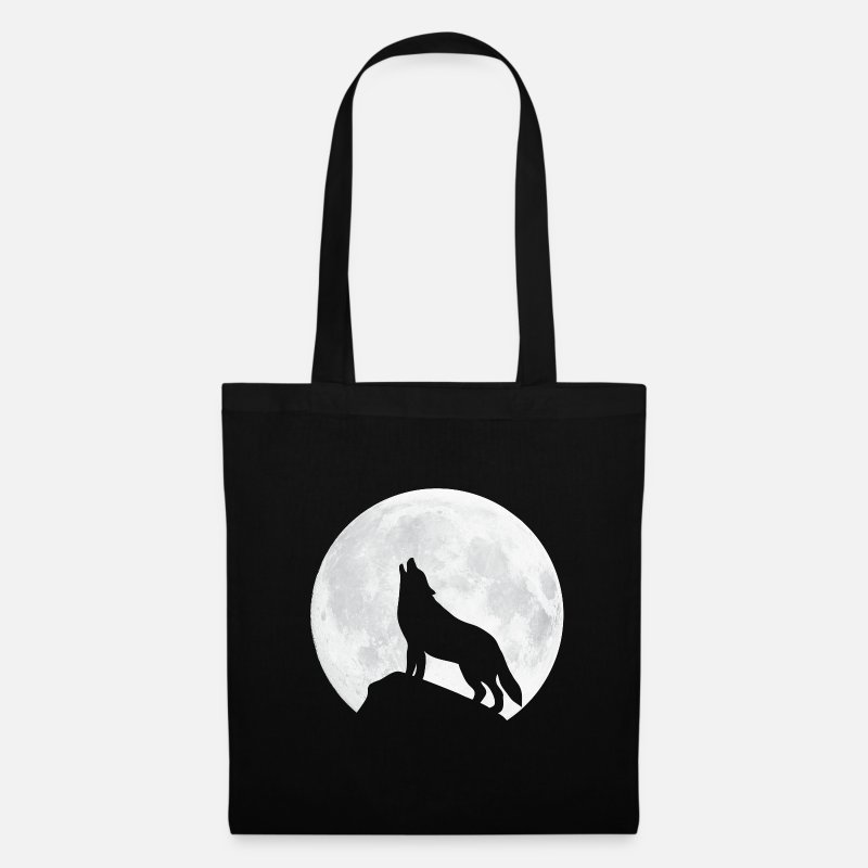 Fox Bags & Backpacks - Howling Wolf - Moon - Tote Bag black