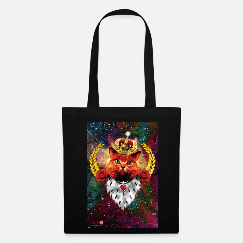 Meow Bags & Backpacks - 10 Red Cat King Crown Red Cat King Crown Gold - Tote Bag black