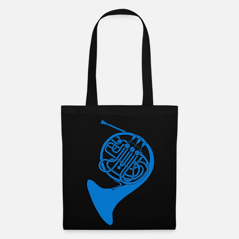 Horn Bags & Backpacks - blue french horn - Tote Bag black