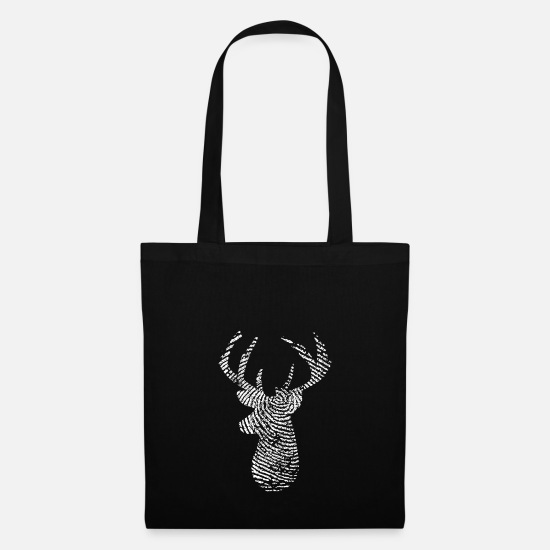 Red Deer Bags & Backpacks - Deer Deer Head Fingerprint Wild Hunt Gift - Tote Bag black