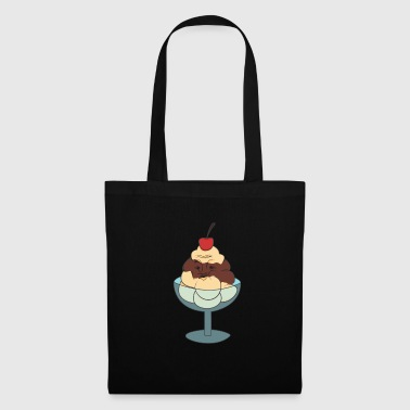 Ice cream cream cherry face humor silly funny - Tote Bag