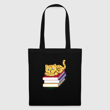 Bookworm bookworm book reading book kitten del gatto - Borsa di stoffa