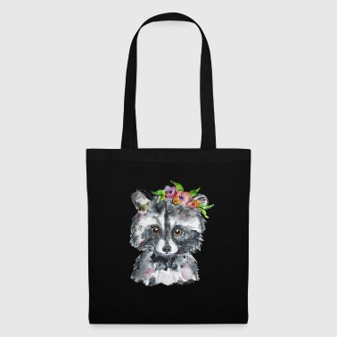 Couronne florale de conception aquarelle de raton laveur - Tote Bag
