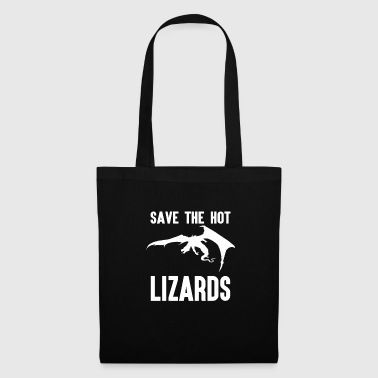 Silly Save the Hot Lizards Funny Puns Dragon Monster - Tote Bag
