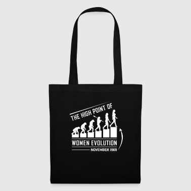 Homo The high point of women evolution - November 1969 - Tote Bag